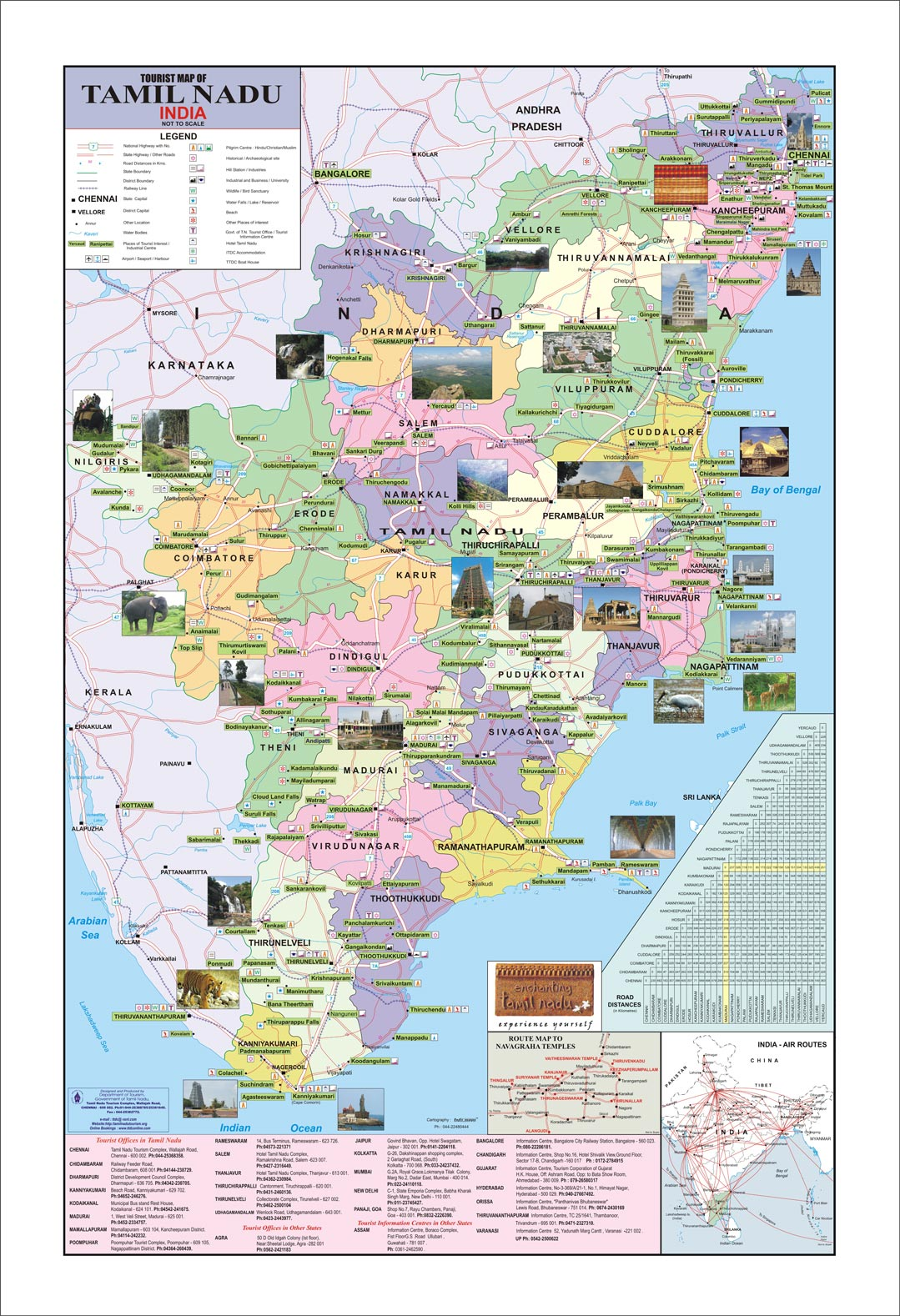 TAMILNADU TOURISM – South India Map With Tourist Places